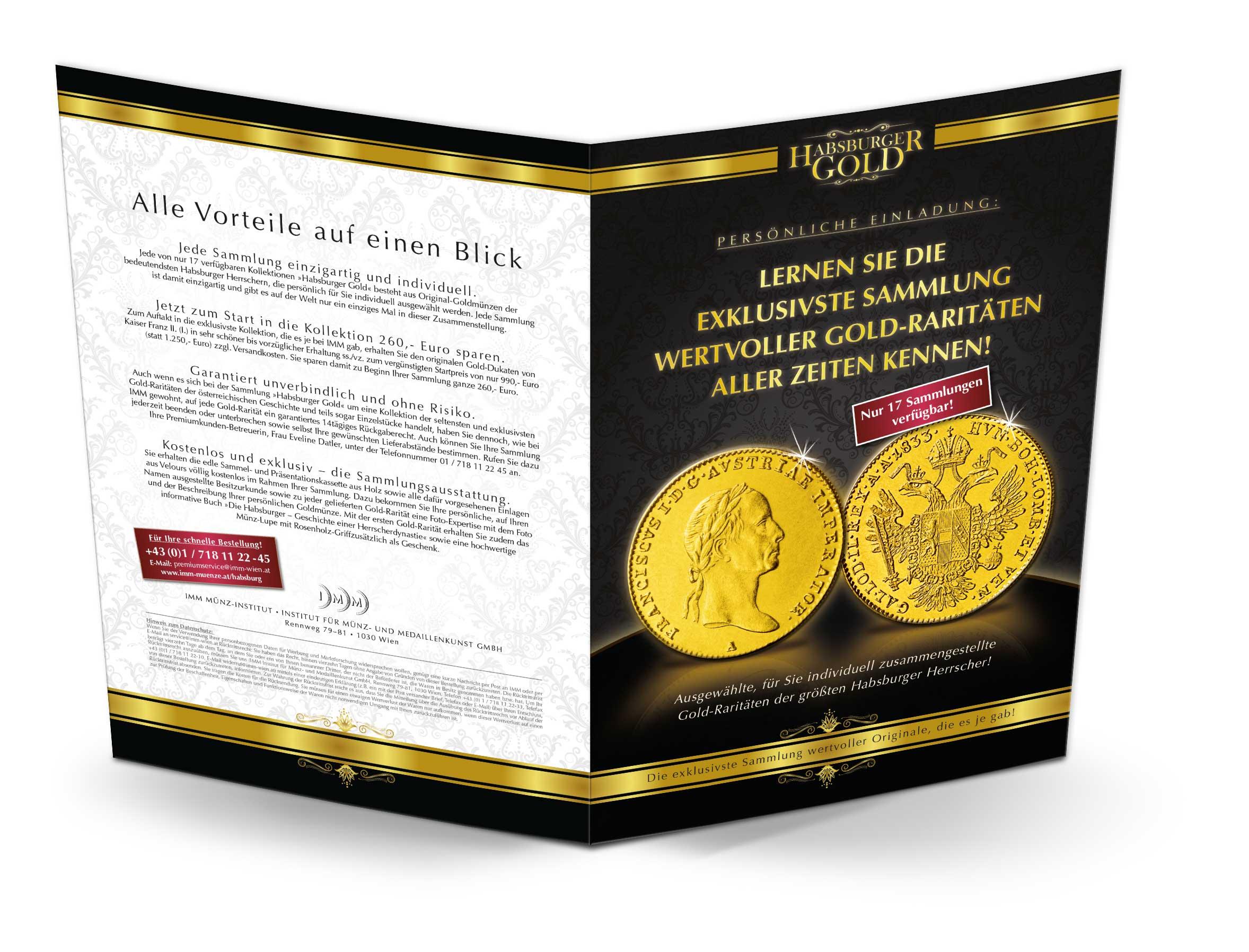 Habsburger Gold Prospekt, Vorder- und Rückseite